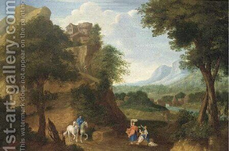 A river valley with a fortified house on a hill and a horseman and other figures on a track by (after) Johannes (Polidoro) Glauber - Reproduction Oil Painting
