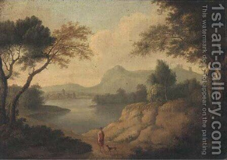 A wooded river landscape with a classical figure and a dog on a track by (after) Johannes (Polidoro) Glauber - Reproduction Oil Painting