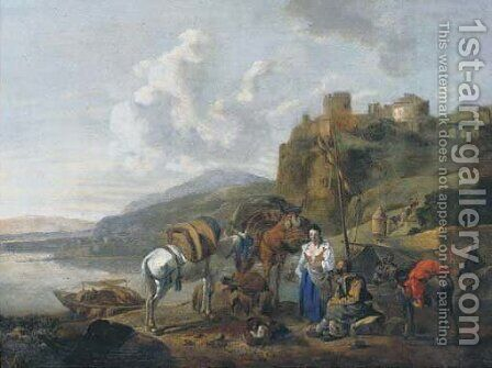 An Italianate river landscape with travellers by a ferry by (after) Johannes Lingelbach - Reproduction Oil Painting