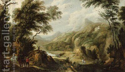Mounted travellers and peasants in an extensive wooded landscape by (after) Johannes Tilens - Reproduction Oil Painting