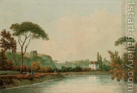 On the Tiber by (after) John Warwick Smith - Reproduction Oil Painting