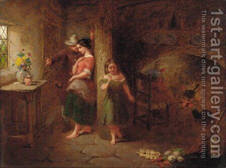 Figures in a cottage interior by After John Anthony Puller - Reproduction Oil Painting