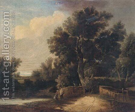 Figures by a bridge in a wooded landscape by (after) John Berney Ladbrooke - Reproduction Oil Painting