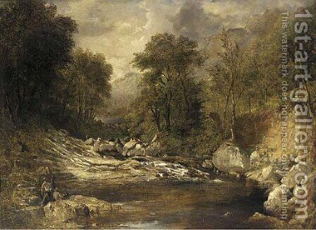 Anglers in a mountainous river landscape by (after) John Brandon Smith - Reproduction Oil Painting