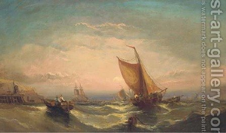 Fishing boats off the south coast (illustrated); and Shipping in a stiff breeze by (after) John Callow - Reproduction Oil Painting