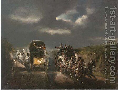 The London to York stage coaches by (after) John Charles Maggs - Reproduction Oil Painting