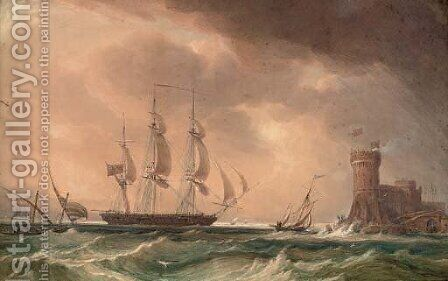 An English frigate arriving off a fortified Mediterranean port by (after) John Christian Schetky - Reproduction Oil Painting