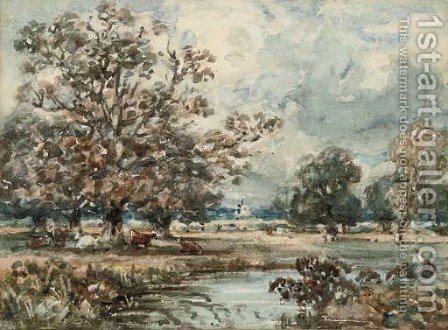 View near Dedham, Suffolk by (after) Constable, John - Reproduction Oil Painting