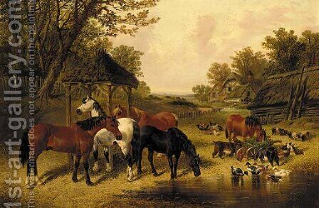 Horses watering in a farmyard with ducks, goats, chickens and pigs by (after) John Frederick Jnr Herring - Reproduction Oil Painting