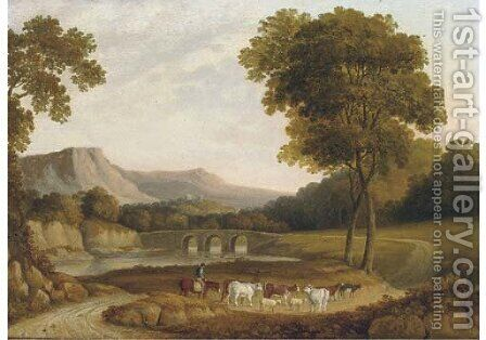 Cattle and a herder on horseback, Derbyshire by (after) John Glover - Reproduction Oil Painting