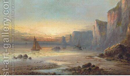 Low-tide at sunset by (after) John H. Wilson - Reproduction Oil Painting