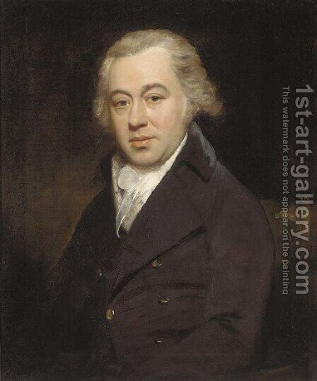 Portrait of a gentleman, half-length, in a black coat and white stock by (after) Hoppner, John - Reproduction Oil Painting