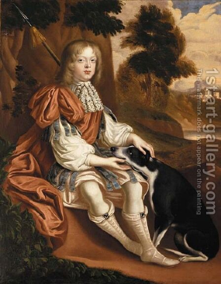 Portrait of a boy by (after) John Michael Wright - Reproduction Oil Painting