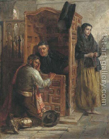 Waiting at the confessional by (after) John Phillip - Reproduction Oil Painting