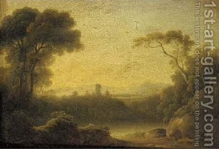 A castle in an Italianate landscape by (after) John Rathbone - Reproduction Oil Painting