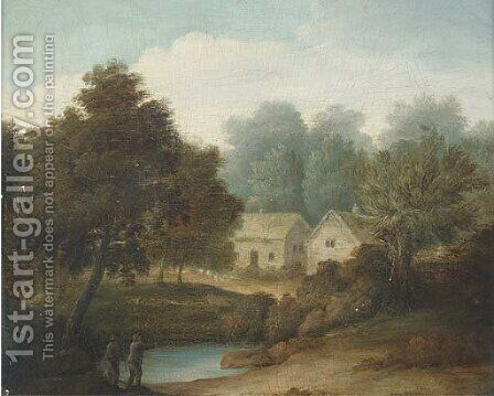 Figures by a pond with cottages beyond by (after) John Rathbone - Reproduction Oil Painting