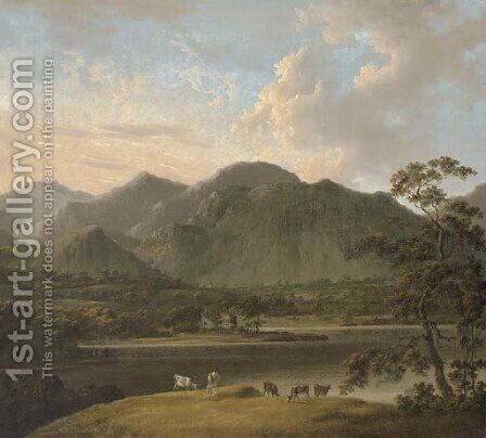 View of Coniston and Weatherlam, with cattle in the foreground, and Coniston Old Hall beyond by (after) John Rathbone - Reproduction Oil Painting