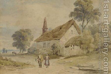 Figures walking along a village lane by (after) John Varley - Reproduction Oil Painting