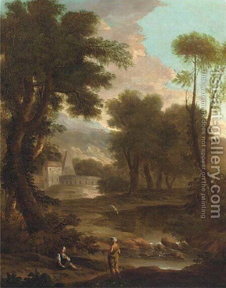 A landscape with a shepherd and shepherdess by a river, classical buildings beyond by (after) John Wootton - Reproduction Oil Painting