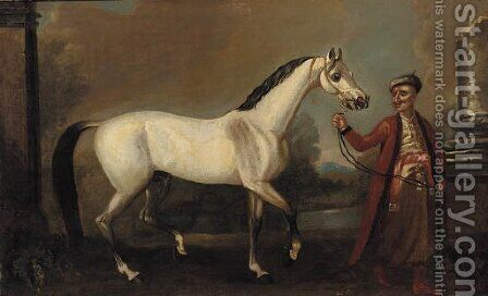 The bloody-shouldered Arabian held by a groom by (after) John Wootton - Reproduction Oil Painting