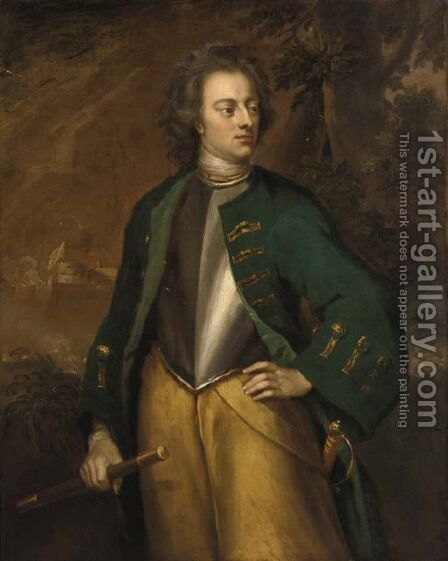 Portrait of a gentleman, standing three-quarter-length, in a green coat  and breastplate, holding a baton, a battle raging beyond by (after) Richardson. Jonathan - Reproduction Oil Painting