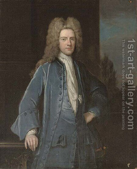 Portrait of a gentleman, traditionally identified as Samuel Chetham (1676-1745), of Turton and Castleton, Lancashire, three-quarter-length by (after) Richardson. Jonathan - Reproduction Oil Painting
