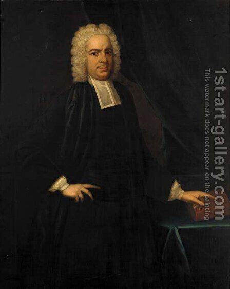 Portrait of John Eyre (b.1693) of Landford, Wiltshire, three-quarter-length, pointing to a book on a draped table by (after) Richardson. Jonathan - Reproduction Oil Painting