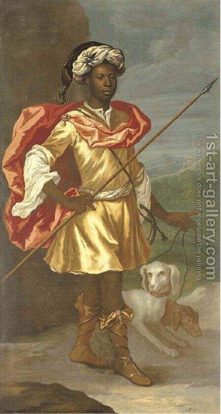Portrait of a Moorish servant, full-length, in classical hunting dress and a turban, with a couple of hounds by (after) Richardson. Jonathan - Reproduction Oil Painting