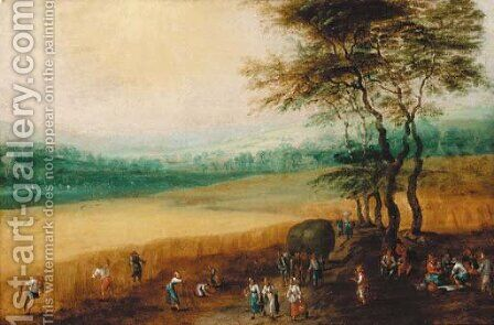 A summer landscape with peasants harvesting by (after) Joos Or Josse De, The Younger Momper - Reproduction Oil Painting