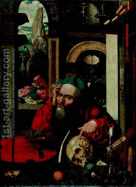 Saint Jerome in his study, a landscape beyond by (after) Cleve, Joos van - Reproduction Oil Painting