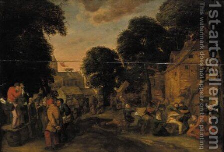 A village fair with a quack and boors fighting outside an inn by (after) Joos Van Craesbeeck - Reproduction Oil Painting