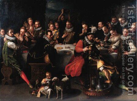 A nobleman with distinguished guests at a banquet by (after)  Jeremias Van Winghen Or Wingen - Reproduction Oil Painting