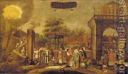 An allegory of life and death by (after) Joost Cornelisz. Droochsloot - Reproduction Oil Painting