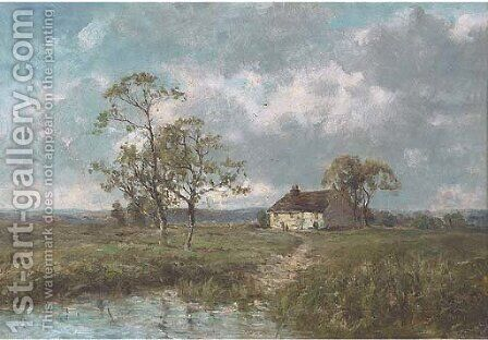 A cottage by a pond on the edge of the moors by (after) Jose Weiss - Reproduction Oil Painting