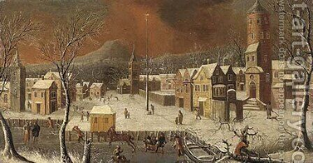 A view of a German town in winter by (after) Josef Van Bredael - Reproduction Oil Painting