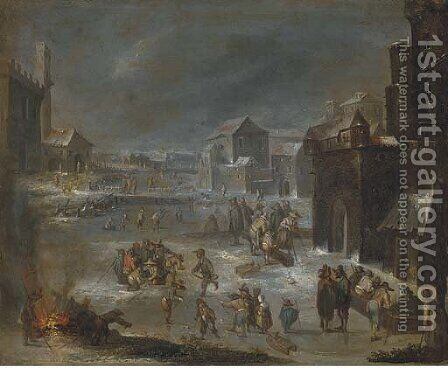 A village with peasants playing skittles and drinking; and A winter landscape with skaters by (after) Joseph Van Bredael - Reproduction Oil Painting