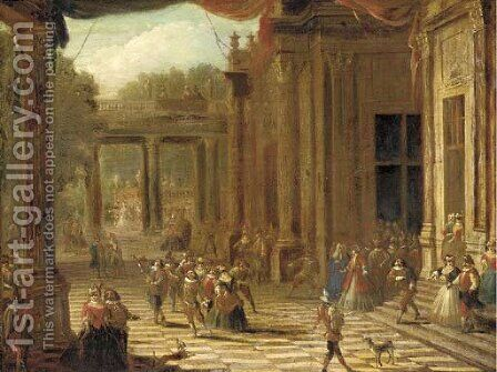 A capriccio of a classical palace exterior with elegant company at a masked ball by (after) Joseph Francis Nollekens - Reproduction Oil Painting