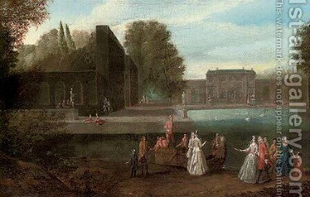 Elegant company disembarking from a boat in a lake in the grounds of a country house by (after) Joseph Francis Nollekens - Reproduction Oil Painting