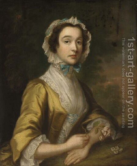 Portrait of a lady, half-length, in a yellow dress and blue-ribboned lace bonnet, holding a rose, in a landscape by (after) Highmore, Joseph - Reproduction Oil Painting