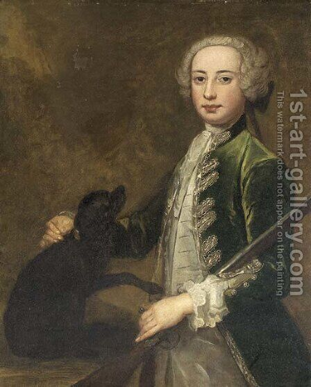 Portrait of a young gentleman, three-quarter-length, in a green coat, holding a gun, with a spaniel by (after) Highmore, Joseph - Reproduction Oil Painting