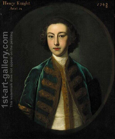 Portrait of Henry Knight aged 14, half-length, in a gold embroidered blue coat and white waistcoat, feigned oval by (after) Highmore, Joseph - Reproduction Oil Painting