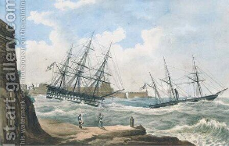 A British paddle sloop ahead of a ship-of-the-line coming out of the harbour at Valetta in heavy seas by (after) Joseph Schranz - Reproduction Oil Painting