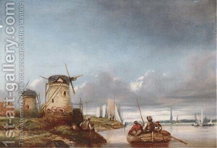 Windmills on the bank of a river by (after) Joseph Stannard - Reproduction Oil Painting