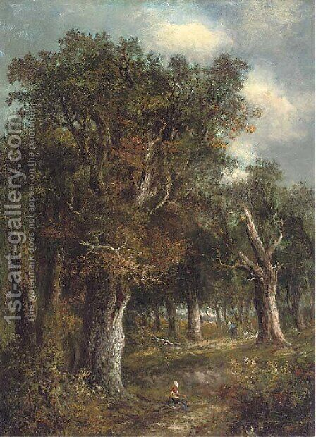Figures in a woodland by (after) Joseph Thors - Reproduction Oil Painting