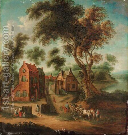 A wooded landscape with figures and a horse and cart before a hamlet by (after) Joseph Van Bredael - Reproduction Oil Painting