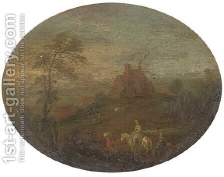 A wooded river landscape with travellers on a track; and A wooded river landscape with travellers on a track, a cottage beyond by (after) Joseph Van Bredael - Reproduction Oil Painting