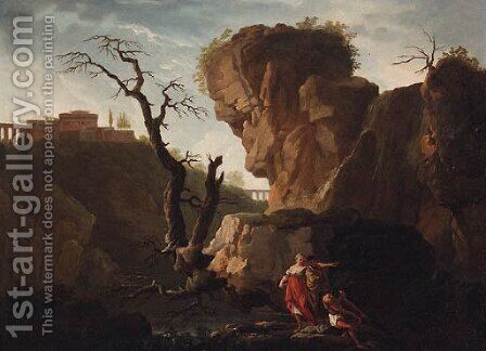 An Italianate landscape with figures by a waterfall by (after) Claude-Joseph Vernet - Reproduction Oil Painting