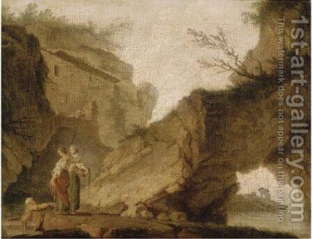 Figures in a rocky landscape by (after) Claude-Joseph Vernet - Reproduction Oil Painting