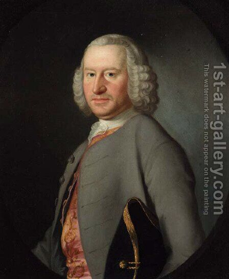 Portrait of Robert Newton (1713-1789) of Norton and Mickleover, High Sheriff of Derbyshire by (after) Josepf Wright Of Derby - Reproduction Oil Painting