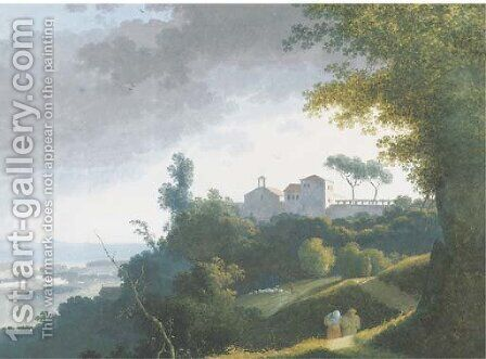 An extensive landscape with a monastery on a hilltop, peasants on a path on the foreground, the sea beyond 2 by (after) Joseph Augustus Knip - Reproduction Oil Painting